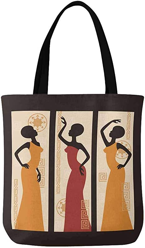 Tropical Beauty Art Canvas Tote African American Cotton Canvas Art Tote