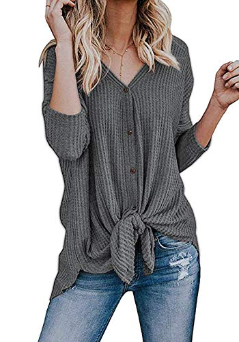 (Basic Faith Women's S-3XL Ultra Soft Bat Wing Blouse Casual Button Down Thermal Tops Grey L)