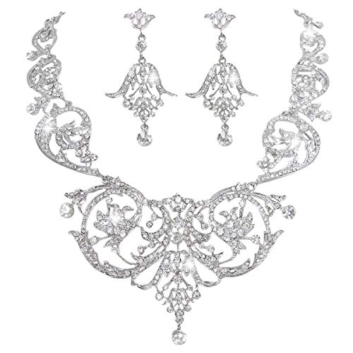 - EVER FAITH Bridal Silver-Tone Art Deco Flower Leaf Necklace Earrings Set Clear Austrian Crystal