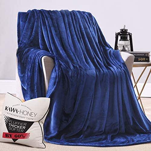 Kawahoney Faux Mink Nebula Fleece Blanket Navy Blue Queen 130% Thicker Than Blankets of Equal Weight Customized for Luxury Life Durable Cozy Warm Super Soft Fluffy Fuzzy Couch Sofa Bed Blanket