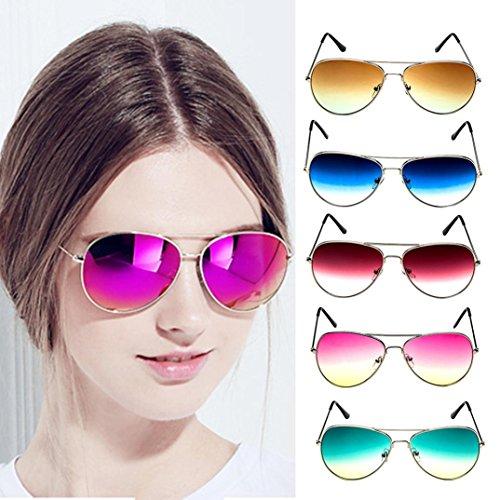 sole polarizzati da Donna Fashion Gradient Trasparente Mirror Uomo Occhiali Outside Blu Adeshop Occhiali Protection Retro Uv OnvxWwXa
