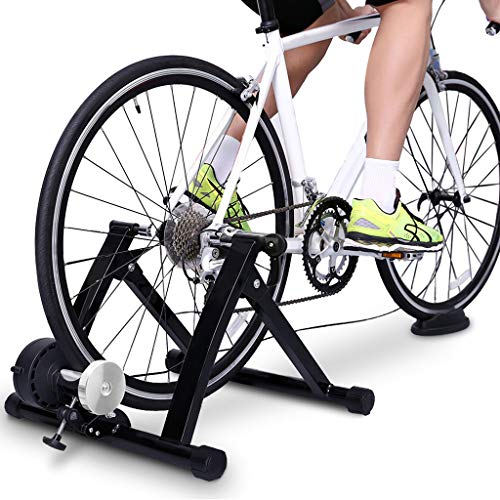 (Bike Trainer Stand, Indoor Magnetic Bicycle Stationary Stand with Noise Reduction Wheel,Real Road Feel Flywheel d/Quick Release/Front Wheel Riser (A Switch with fine-Tuning Resistance, Black))