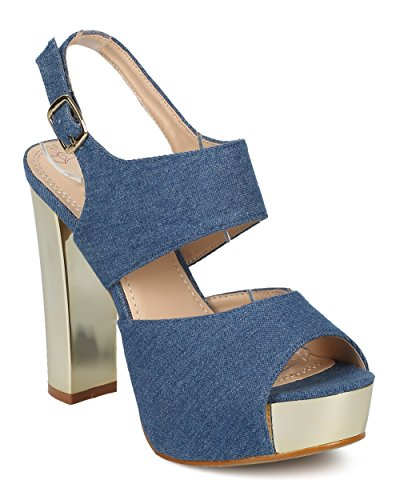 Alrisco Dames Slingback Blokhak Sandaal - Peep Toe Metallic Platform Hak - Metalen Dikke Hak Sandaal - Hd28 Door Dbdk Collectie Blue Denim