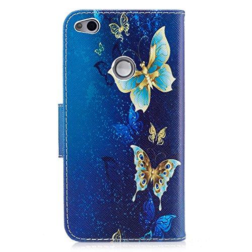 Para Huawei P8 Lite 2017 funda, (Bailarina de mariposas) caja del teléfono de la PU patrón en pintado ,Función de Soporte Billetera con Tapa para Tarjetas soporte para teléfono Un grupo de mariposas están bailando