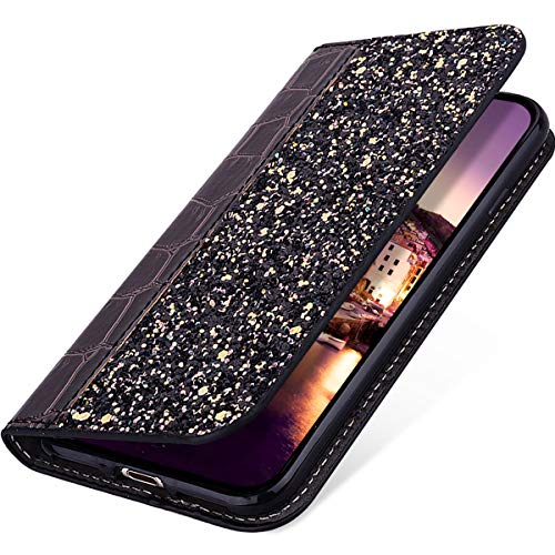 Price comparison product image MoreChioce Compatible with Xiaomi Redmi Note 4 / Note 4X Leather Case, Glitter Cute Phone Case Girls Luxury Bling Diamond Shining Sparkle Back Leather Bookstyle Flip Protective Case,  Black