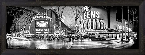 Great Art Now Fremont Street at night, Las Vegas, Clark County, Nevada by Panoramic Images Framed Art Print Wall Picture, Espresso Brown Frame, 29 x 11 inches