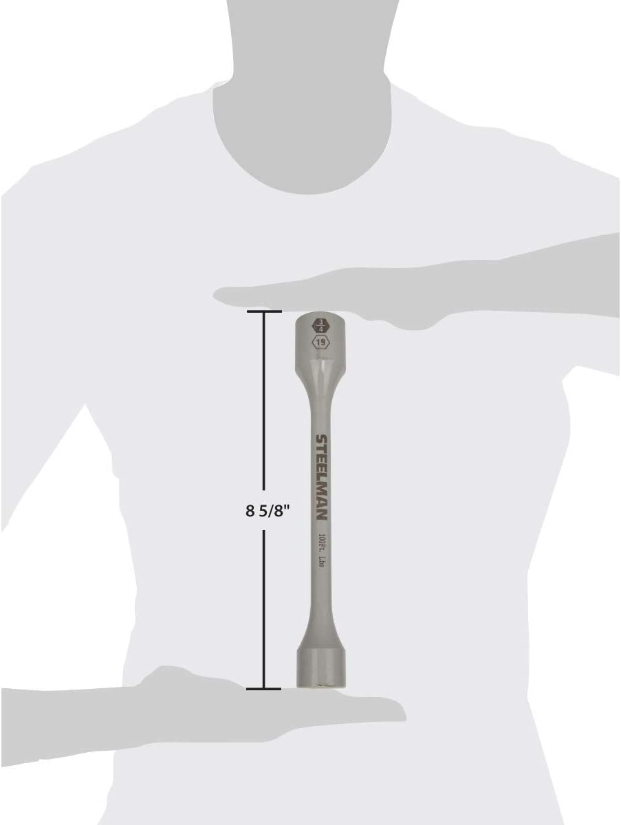 Cool Gray STEELMAN 60170 100 ft-lb 1//2-Inch Drive x 19mm Torque Stick