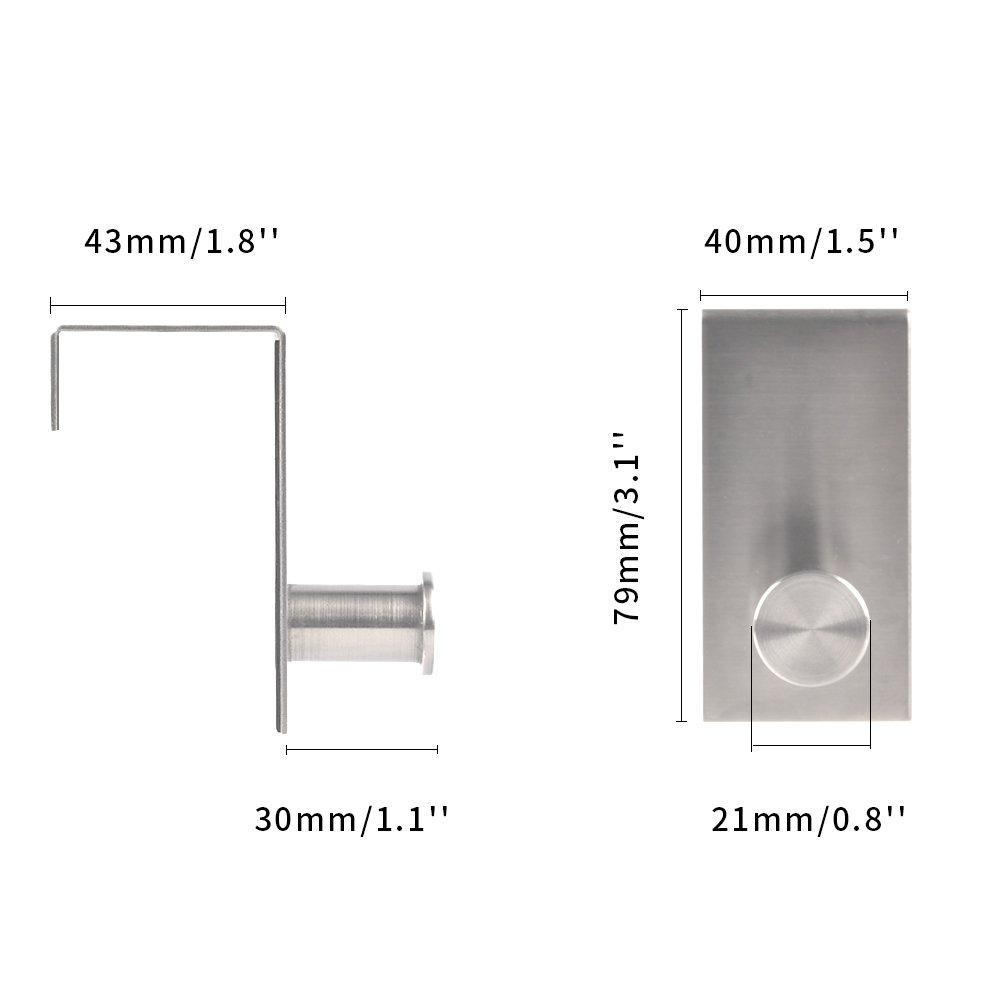 43mm SHiZAK 1 Pair Stainless Steel Over The Door Hooks Home Kitchen Single Robe Towel Hanger Holder with Optional Screw Mount