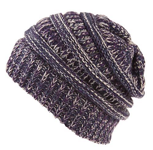 Spikerking Womens Motley Outlet Ponytail Hat High Bun Knit Warm Winter Beanie,Violet Blue Beige