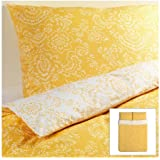 Ikea Akertistel 3pc Queen Duvet Quilt Cover 100 Percent Cotton Yellow / White