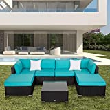 7PC Outdoor Sectional Sofa Set Rattan All-Weather Wicker Patio Furniture Sofa W/Cushions & Modern Coffee Table Glass Top, Blue