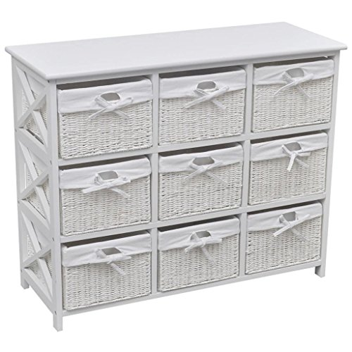 Woven Baskets 9-Drawer Storage Cabinet Side Chest Home Room (Nine Apothecary Drawers)