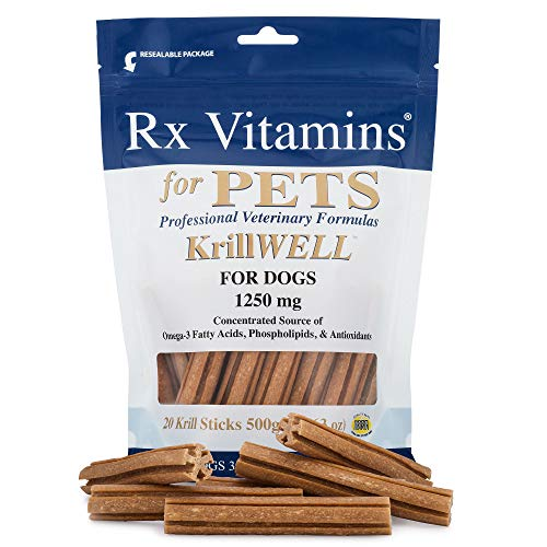 RX Vitamins Omega 3 Krill Fish Oil Sticks for Dogs - Phospholipid Bound Omega-3 and Astaxanthin - Qrill Pet Krill Meal for Amazing Skin and Coat, Reduced Inflammation and Allergy - Vitamin Nighttime