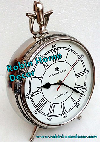 (Robin Exports Collectible Decorated 49 Bond Street London Mechanical Vintage Table Clock)