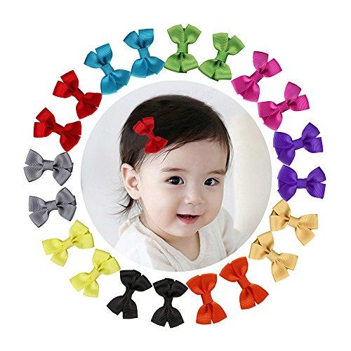 Shemay 10 Pairs 2″ Tiny Boutique Grosgrain Ribbon Hair Bow Alligator Clips Barrettes for Baby Girls Toddlers Kids