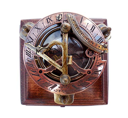 MAH Captain's Brass Sundial Compass Marine Compass Nautical Compass & Adjustable Screw Legs with Wooden Box. C-3037