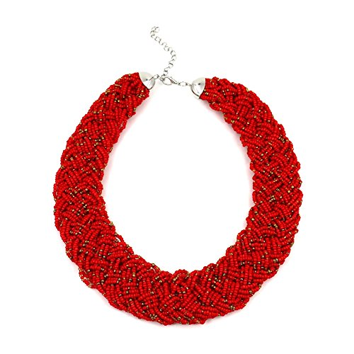 Fashion Jewelry Girls Long Resin Beaded Collar Necklace For Women (Red)