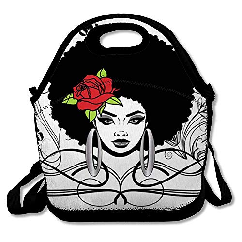 Reusable Lunch Bag for Men Women Hairstyle Black Afro Adult Rose Thick Insulated Lunch Tote for Travel Office School (Best Hairstyle For Female)