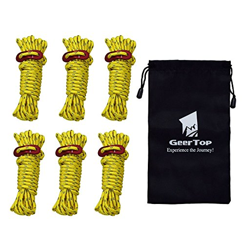Geertop 6 Pack 4mm Reflective Tent Guide Ropes Lightweight Guy Line Cord with Guyline Adjuster Aluminum Tent Cord Tensioners for Camping Hiking Backpacking - Essential Camp Accessories 13 Feet Yellow