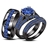 TVS-JEWELS Round Cut Blue Sapphire Trio Set In Black Plated 925 Silver Ladies Bridal & Men Wedding Band (Blue Sapphire)