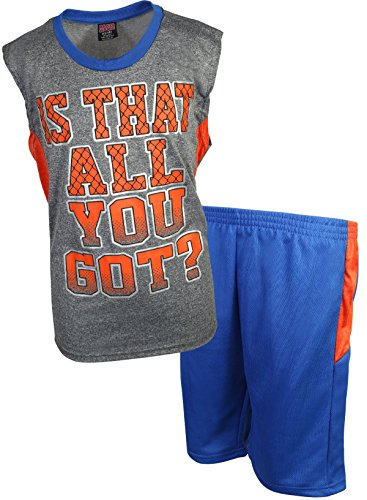 Mad Game Boys 2-Piece Basketball Performance Tank Top and Shorts Set, Orange All You Got, Size 5/6'