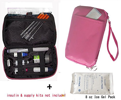 Diabetic/Cosmetic Organizer Cooler Bag-for Insulin, Testing Kits,W/2x Ice Pack Included -Pink