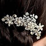 Vakind Bridal Wedding Flower Crystal Rhinestone Hair Clip Comb Pin Diamante Silver