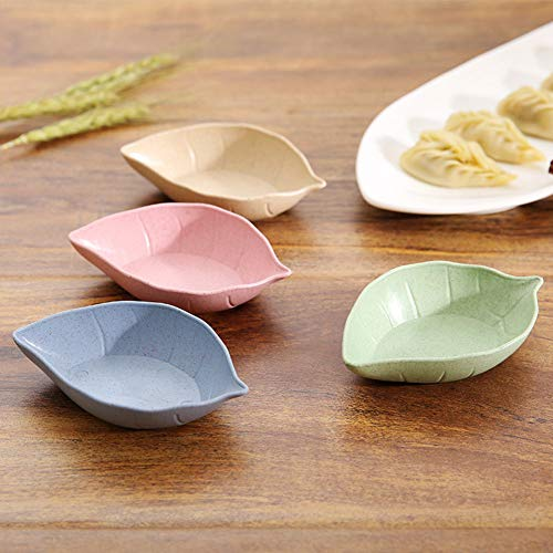 Baost Creative Leaf Shape Wheat Straw Seasoning Dish Sauce Dipping Bowls Vinegar Mini Dinnerware Plate Sauce Serving Dishes Condiment Dish for Paste, Jam, Appetizer, Snack Green by Baost (Image #3)