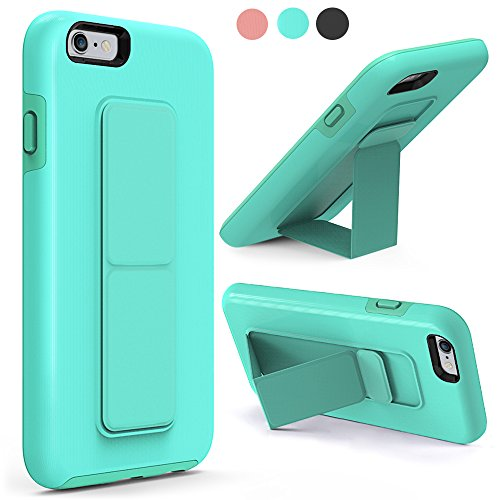 ZVEdeng iPhone 6 Case, iPhone 6S Case, Vertical and Horizontal Stand Finger Strap Foldable Kickstand Holster Phone Stand Dual Layer Anti Scratch Case Cover for Apple iPhone 6 / 6s 4.7 Mint Green