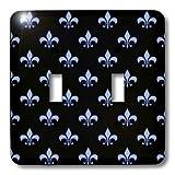 3dRose lsp_21616_2 Blue Fleur De Lis On A Black Background Christian Symbol Double Toggle Switch