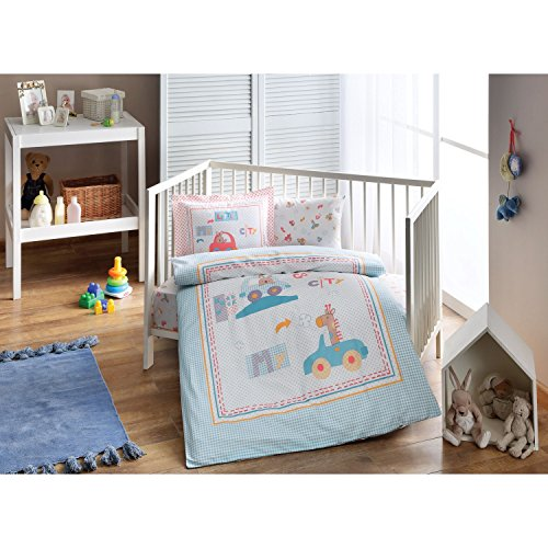 DecoMood My Little City Cars and Animals Themed, 100% Organic Cotton Soft and Healthy Nursery Crib Bedding Duvet Cover Set for Baby Boys, 4 Pieces by DecoMood