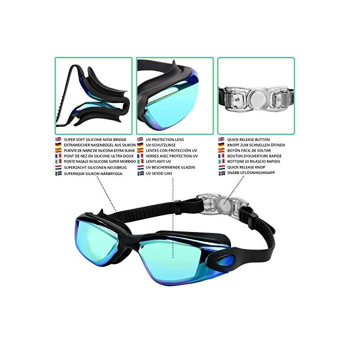 51F0oL878RL GAFAS NATACION HERMÉTICAS: Estas gafas de silicona están hechas de silicona suave de doble capa para gran comodidad y evitar que goteen. Con el fuerte sello de goma gruesa, protegerán sus ojos del cloro y otros químicos presentes en las piscinas. Sus ojos también estarán protegidos contra el polvo, suciedad y bacterias, esto evitará la irritación y los ojos rojos. Estas gafas de nadar se pueden usar para bucear, triatlones y nado sincronizado. LENTES CON PROTECCIÓN UV: Estas coloridas gafas para natación tienen coloridas lentes de policarbonato. Son resistentes, no se romperán y tienen protección UV. Con esta protección evitará cualquier daño por los rayos del sol y también reducen la cantidad de luz que entra, esto ayuda a minimizar el resplandor, para mejorar la experiencia cuando nade en exteriores o bajo las brillantes luces de la piscina. CORREA AJUSTABLE DE SILICONA: Las gafas para bucear tienen una correa que se puede ajustar fácilmente para hacerla más grande o pequeña y ajustarse a la mayoría de los tamaños de cabezas. Estas gafas son aptas para hombres y mujeres adultos, así como también adolescentes. El botón de liberación rápida en la parte trasera ayuda a liberarlas y retirarlas fácilmente. Estas gafas de piscina son perfectas para profesionales, así como nadadores recreativos.