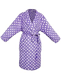 Simplicity Kids' Dinosaur Printed Long-Sleeved Bathrobe - XL(Age13-15) - Purple/ Pink Heart