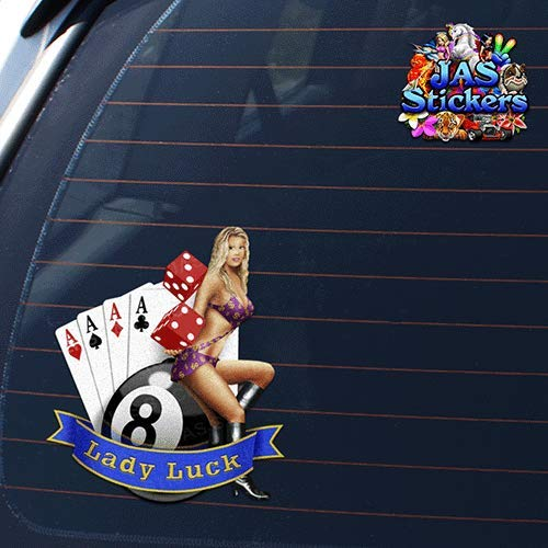 JAS Stickers/® LADY LUCK Funny Car Decal Girl Lucky Small Vinyl Sticker Pack For Laptop Caravans Trucks /& Boats ST060/_1