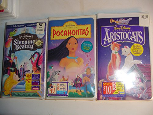 3 - Walt Disney's VHS Tapes Pocahontas, Sleeping Beauty, Aristocats
