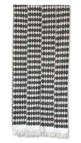 NOVICA Black and White Cotton Kente Cloth Scarf, 'Victor' by NOVICA
