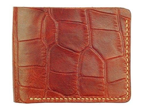 Handmade Slots Texture Wallet tan 6 mahogany Mahogany Leather Crocodile Bifold CC 7wTa8q0w