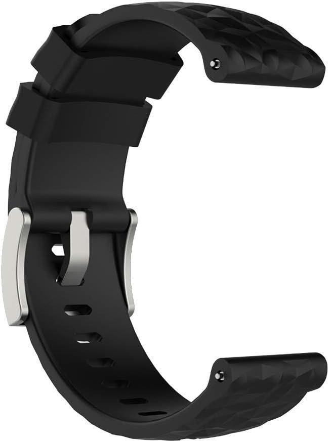 Générique Bracelet Remplacement de Montre Intelligente en Silicone pour Suunto 9 Baro Noir
