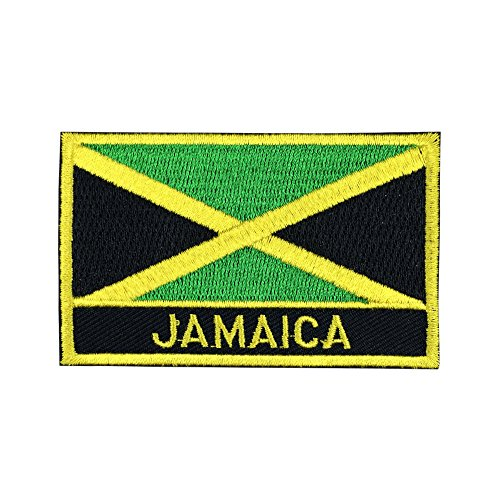 Jamaica Flag Iron-On Patch for Hats and Backpacks (Jamaican Iron-On w/Words, 2