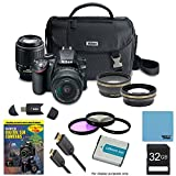 Nikon D3200 Ultimate 4 Lens Experience includes: D3200 Camera, AF-S DX NIKKOR 18-55mm f/3.5-5.6 Lens, 55-200mm F/4-5.6G ED AF-S DX Zoom-Nikkor Lens, Pro .45x Wide Angle Lens w/ Macro, Pro 2X Telephoto Lens Converter, 16GB SD Card, 52mm Filter Set & more