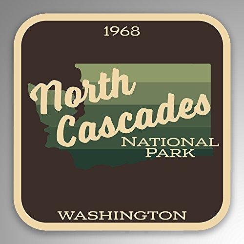 JMM Industries North Cascades National Park Vinyl Decal Sticker Car Window Bumper 2-Pack 4-Inches by 4-Inches Premium Quality UV Protective Laminate NPS103