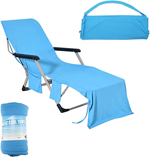 Microfibre Beach Lounge Chair Cover Towel For Holiday Garden Lounge With Pockets