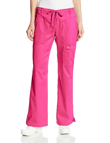 Cherokee Women's Petite Scrubs Luxe Jr. Fit Low Rise Drawstring Cargo Pant, Fuchsia Rose, XX-Large/Petite
