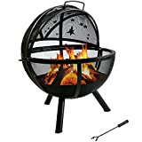 Sunnydaze Decor Flaming Ball Moons and Stars Fire Pit with Protective Cover, Black, 30 Inch For Sale