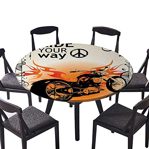 (Round Table Tablecloth Motorcycle Image with Ride Your Way Text Peace Sign Freedom Action Freestyle Machine Washable 47.5