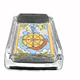 Glass Square Ashtray Wheel Of Fortune Tarot Whiskey D-125