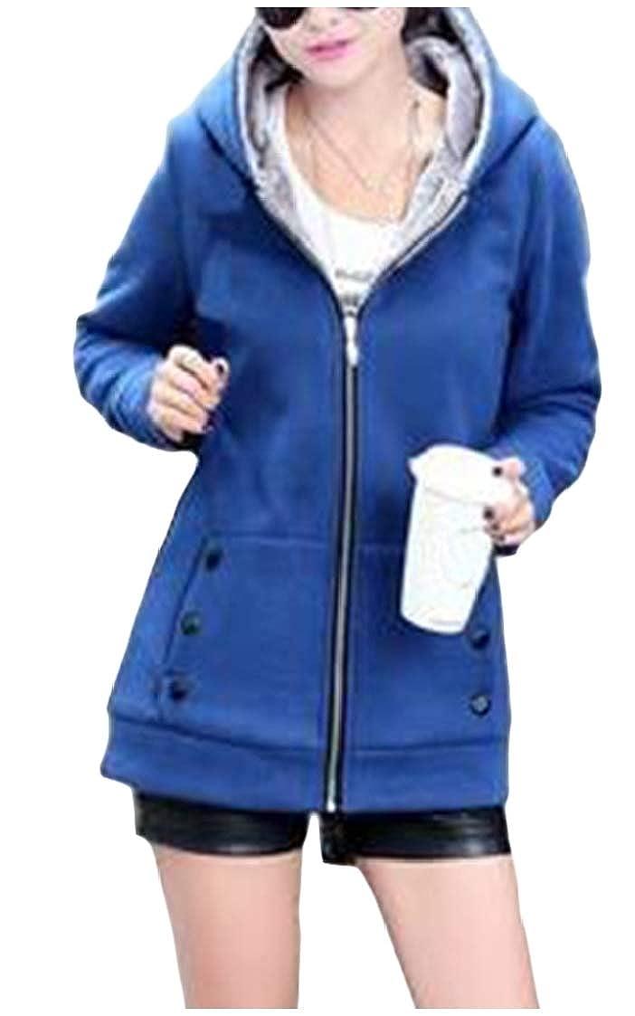 DressU Womens Long-Sleeve Hood Zip-up Thicken Plus Velvet Outwear Jackets