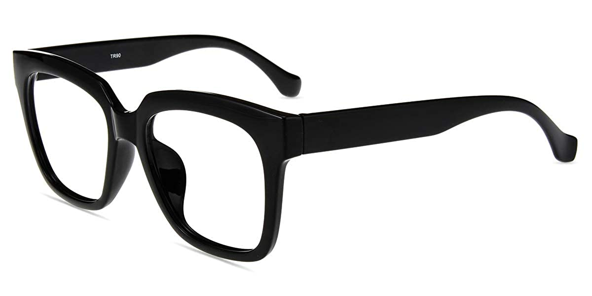 03235ed71b8 Amazon.com  Firmoo Anti Blue Light Glasses for Reducing Headache Eye  Fatigue with Durable Oversized Rectangular Square Black Plastic Frame for  Women Men  ...