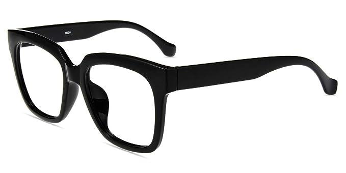 ac1fcd650aea Amazon.com  Firmoo Anti Blue Light Glasses for Reducing Headache Eye  Fatigue with Durable Oversized Rectangular Square Black Plastic Frame for  Women Men  ...