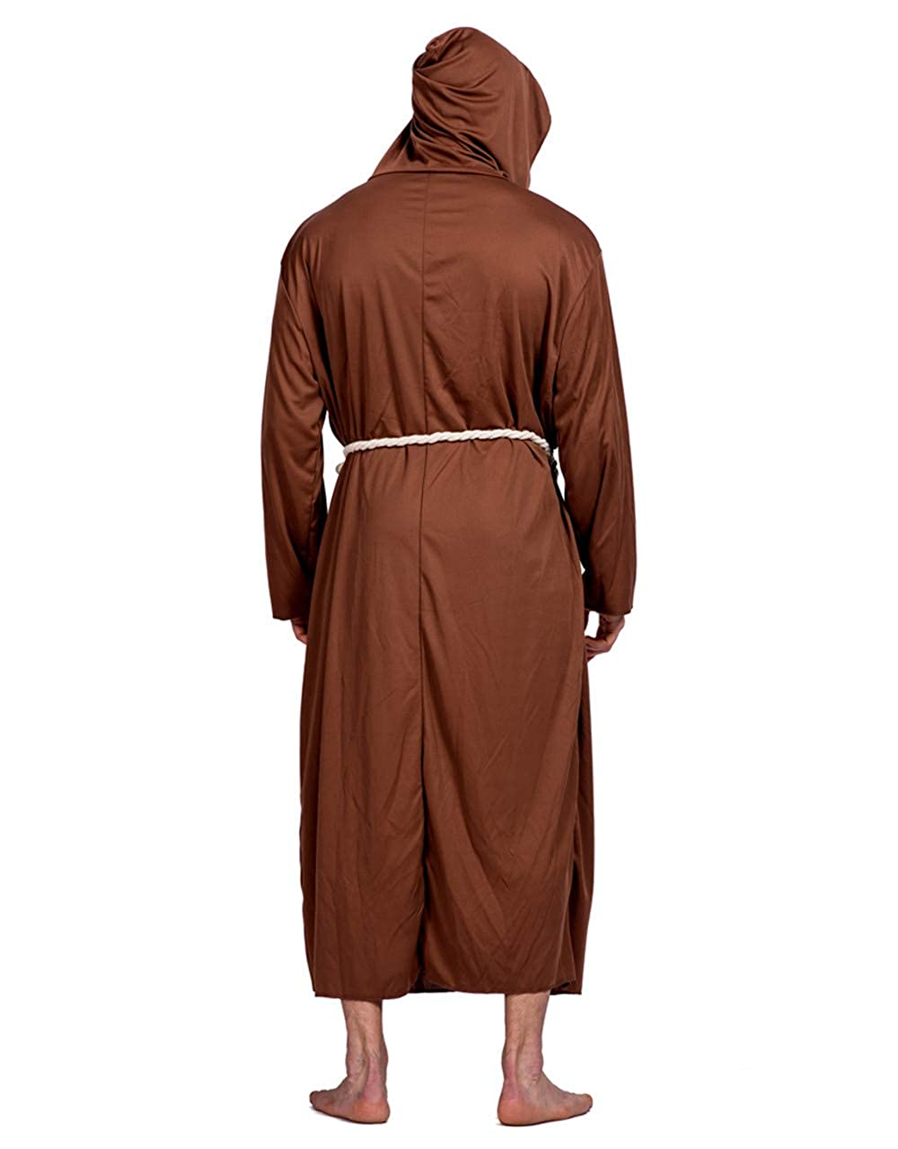 5398cad94c Halloween buddhist monk cosplay costume long hooded medieval monk robe  brown one size for all clothing